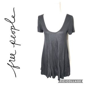Free People Gray Shimmer Tunic Small